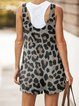 Leopard Printed Sleeveless Buttoned Pockets Jumpsuits