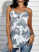 Vintage Sleeveless Boho Geometric Floral Printed Crew Neck Plus Size Casual Vest Tops
