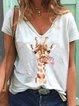 White Floral-Print V Neck Short Sleeve Shirts & Tops
