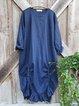 Blue Casual Linen Crew Neck Plain Dresses