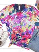 Color Short Sleeve Cotton Crew Neck Shirts & Tops