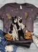 Color Short Sleeve Animal Shirts & Tops