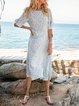 Blue Boho Floral-Print Swing Maxi Dresses
