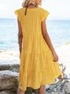Yellow A-Line Frill Sleeve Casual Cotton-Blend Mini Dresses