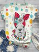 Vintage Short Sleeve Statement Polka Dots Llama Floral Printed Crew Neck Plus Size Casual Tops