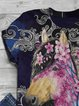 Vintage Short Sleeve Statement Horse Floral Printed Crew Neck Plus Size Casual Tops