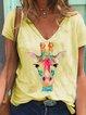 Casual Short Sleeve V Neck Shirts & Tops