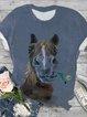 Plus Size Animal Cotton-Blend Shirts & Tops