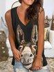 Sleeveless Printed Casual Shirts & Tops