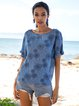 Blue Floral Crew Neck Casual Shirts & Tops