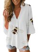 White  3/4 Sleeve Casual V Neck Shirts & Tops