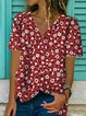 Red Patchwork V Neck Short Sleeve Shirts & Tops