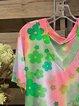 Color Short Sleeve Cotton-Blend V Neck Shirts & Tops