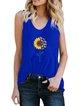 Vintage Sleeveless Statement Sunflower Printed U Neck Plus Size Casual Vest Tops