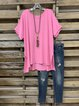 Pink Short Sleeve Casual Crew Neck Shirts & Tops