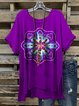 Purple Crew Neck Cotton Short Sleeve Shirts & Tops