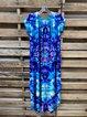 Blue Short Sleeve Cotton Printed Dresses
