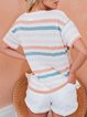 Vintage Short Sleeve Multicolor Striped Printed Crew Neck Plus Size Casual Tops