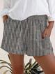 Gray Shift Cotton Stripes Boho Pants