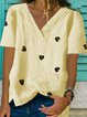 Short Sleeve Cotton-Blend V Neck Casual Shirts & Tops
