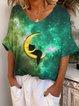 Green Short Sleeve Cotton-Blend Crew Neck Shirts & Tops
