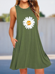 Daisy Print Sleeveless Crew Neck Holiday Dresses