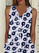 White-Blue Boho Sleeveless V Neck Dresses