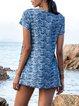 Blue Cotton-Blend Short Sleeve Shirts & Tops