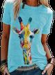 Color Giraffe Print Casual Short Sleeve Tops T-shirt