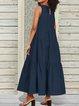 Solid Color Sleeveless Ruffle Hem Casual Dress