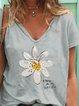 Light Gray Cotton V Neck Printed Short Sleeve Shirts & Tops