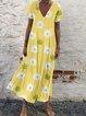 Yellow Short Sleeve Printed Simple Dresses