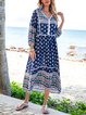 Blue Cotton-Blend Tribal V Neck 3/4 Sleeve Dresses