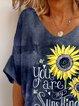 Navy Blue Cotton-Blend Casual Short Sleeve Shirts & Tops