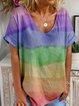Color V Neck Casual Shirts & Tops