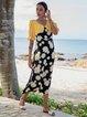 Yellow Black Boho V Neck Swing Dresses