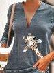 Long Sleeve V Neck Printed Casual Shirts & Tops