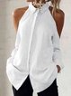 Plain Shirt Collar Long Sleeve Shirts & Tops