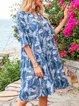 Sky Blue Short Sleeve Boho A-Line V Neck Dresses