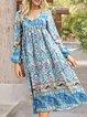 Blue Boho V Neck Long Sleeve Printed Dresses