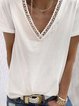 White Cotton-Blend Short Sleeve Casual Shirts & Tops