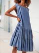 A-Line Denim Cold Shoulder Plain Dresses