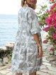 Light Gray Boho A-Line Short Sleeve Dresses