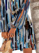 Blue Long Sleeve Geometric Cotton Casual Dresses