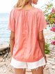 Pink Cotton-Blend Casual Solid Shirts & Tops