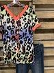 Deep V-neck Gradient Tie-dye Leopard Stitching T-shirt