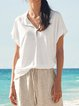 White Plain Short Sleeve Casual Shirts & Tops