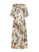Crew Neck Floral Half Sleeve Holiday Maxi Dresses