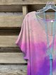 Purple Short Sleeve Cotton-Blend Crew Neck Shirts & Tops