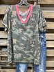 Green V Neck Short Sleeve Shirt & Top
